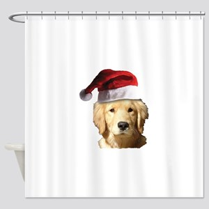 Christmas Golden Retriever Santa Cl Shower Curtain