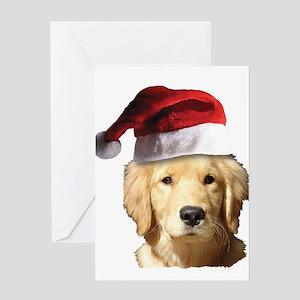A Cute Golden Retriever Wearing a Sa Greeting Card