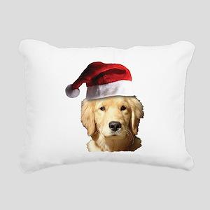Christmas Golden Retriev Rectangular Canvas Pillow
