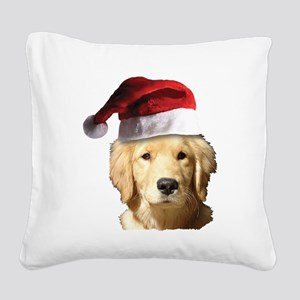 Christmas Golden Retriever Sa Square Canvas Pillow