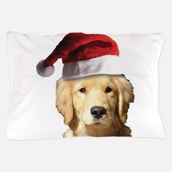 A Cute Golden Retriever Wearing a Sant Pillow Case