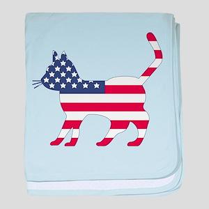 US Flag Cat Icon baby blanket