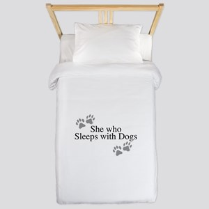 she who sleeps with dogs Twin Duvet