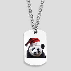 christmas panda wearing a santa claus Dog Tags