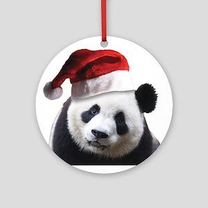 A Cute Panda Bear Wearing a Santa C Round Ornament