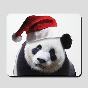 A Cute Panda Bear Wearing a Santa Claus Mousepad