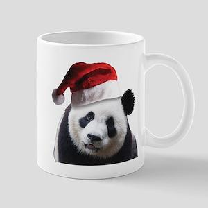 A Cute Panda Bear Wearing a Sant 11 oz Ceramic Mug