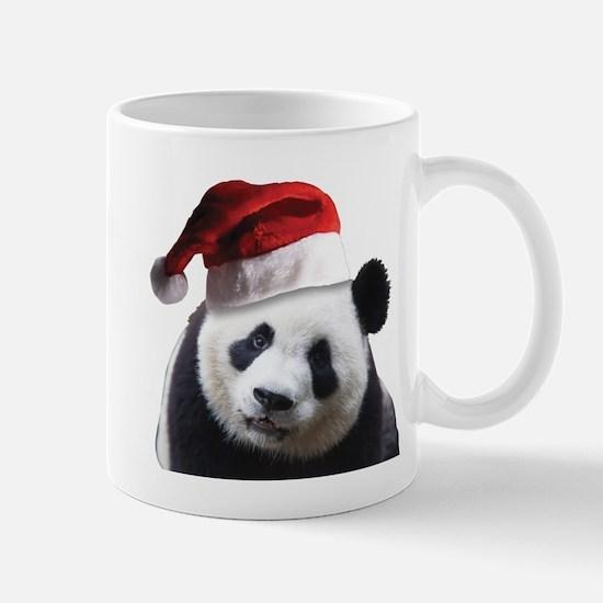 A Cute Panda Bear Wearing a Sant Mug