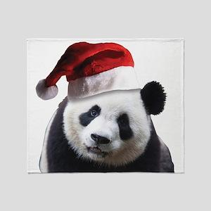 A Cute Panda Bear Wearing a Santa Cl Throw Blanket