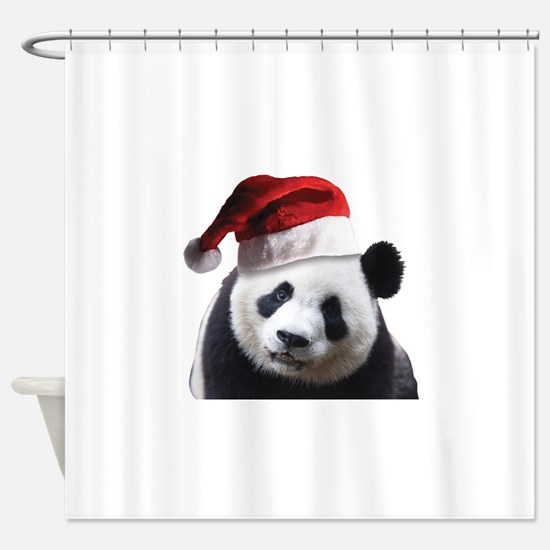 A Cute Panda Bear Wearing a Santa C Shower Curtain