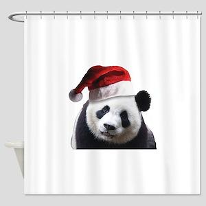 christmas panda wearing a santa cla Shower Curtain