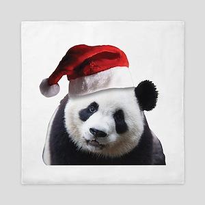 A Cute Panda Bear Wearing a Santa Clau Queen Duvet