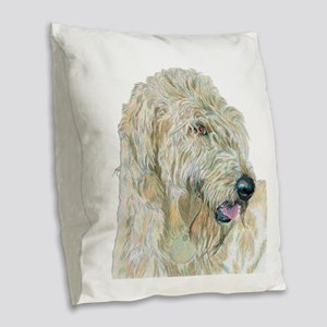 Cream Labradoodle Burlap Throw Pillow