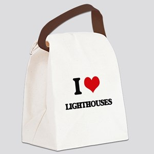 I Love Lighthouses Canvas Lunch Bag