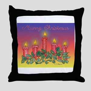 Christmas Candles Throw Pillow