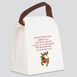 Christmas Poem Plate Canvas Lunch Bag