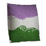 Genderqueer Ornamental Flag Burlap Throw Pillow