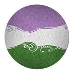 Genderqueer Ornamental Flag Round Car Magnet
