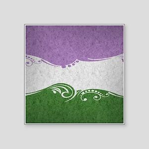 "Genderqueer Ornamental Flag Square Sticker 3"" x 3"""