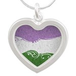 Genderqueer Ornamental Flag Silver Heart Necklace