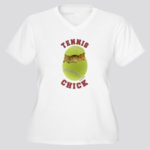 Tennis Chick 2 Women's Plus Size V-Neck T-Shirt