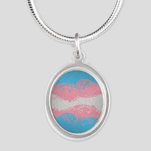 Transgender Ornamental Flag Silver Oval Necklace
