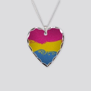 Pansexual Ornamental Flag Necklace Heart Charm