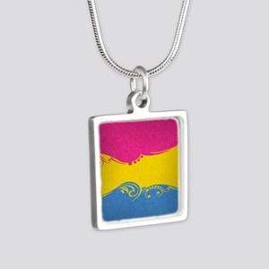 Pansexual Ornamental Flag Silver Square Necklace