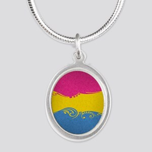 Pansexual Ornamental Flag Silver Oval Necklace