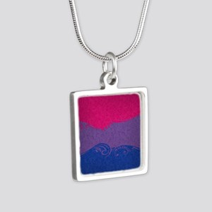 Bisexual Ornamental Flag Silver Square Necklace