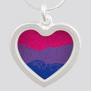 Bisexual Ornamental Flag Silver Heart Necklace