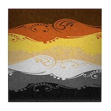 Bear Ornamental Flag Tile Coaster