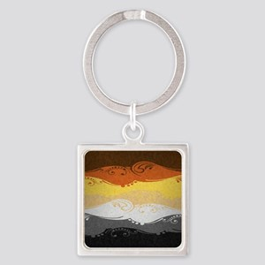 Bear Ornamental Flag Square Keychain