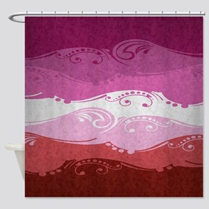Ornamental Lipstick Lesbian Flag Shower Curtain