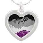 Asexual Ornamental Flag Silver Heart Necklace