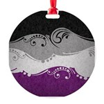 Asexual Ornamental Flag Round Ornament