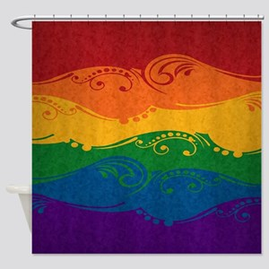 Ornamental Rainbow Flag Shower Curtain