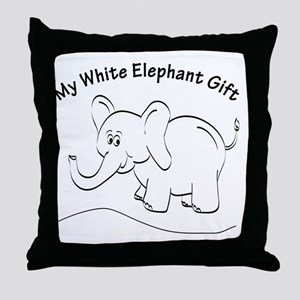 White Elephant Curved Text Throw Pillow