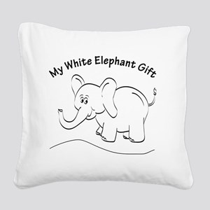 White Elephant Curved Text Square Canvas Pillow