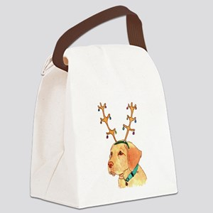 Holiday Yellow Lab Canvas Lunch Bag