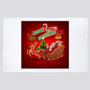 Merry Christmas Santa Sleigh and Reind 4' x 6' Rug