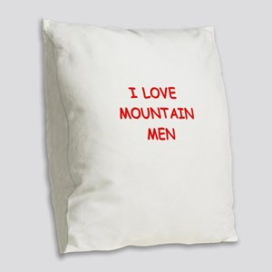 mountain men Burlap Throw Pillow