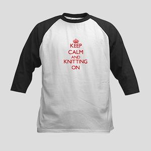 Keep calm and Knitting ON Baseball Jersey