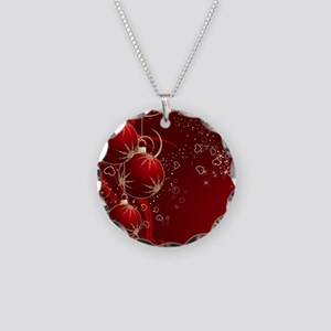 Red Ornaments Necklace Circle Charm