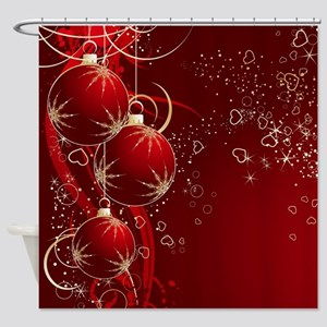 Red Ornaments Shower Curtain