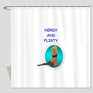 Nerdy Flirt Shower Curtains