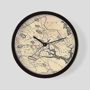 Vintage 1692 Map of Salem Massachusetts Wall Clock