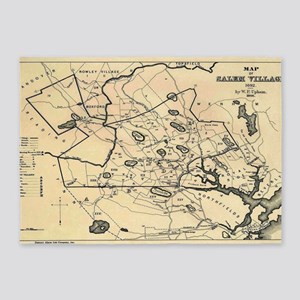 Vintage 1692 Map of Salem Massachus 5'x7'Area Rug