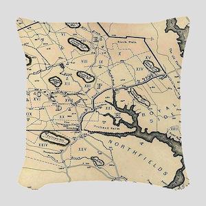 Vintage 1692 Map of Salem Mass Woven Throw Pillow