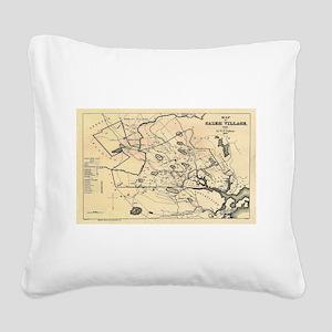 Vintage 1692 Map of Salem Mas Square Canvas Pillow